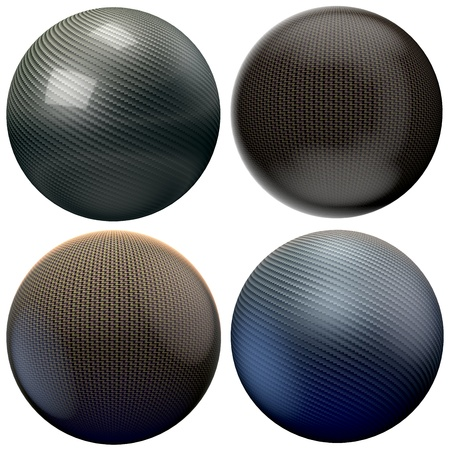 carbonfiber: four different style carbon spheres isolated on white
