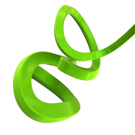 elastic: abstract shape made of green plastic isolated on white