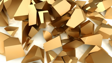 constancy: pieces of gold metal lie on a white background Stock Photo