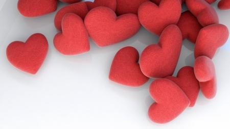 throw cushion: many softred hearts on white background Stock Photo