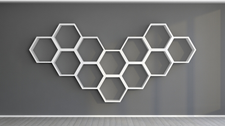 the wall in an abstract interior with hexagonal shelves mounted on it photo