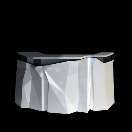 modern design reception counter made of white plastic isolated on black photo