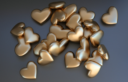 matted: many rounded hearts made of matted gold  Stock Photo