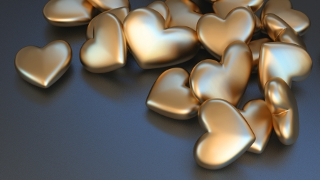 matted: many rounded hearts made of matted gold