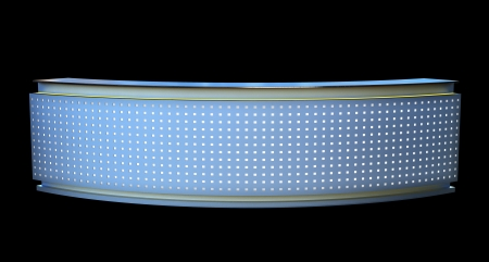 large reception counter with glowing perforated plastic panel photo