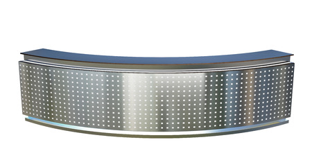 large reception counter with glowing perforated plastic panel Stock Photo