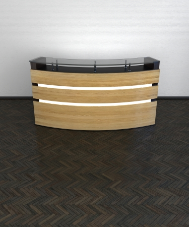 modern design reception counter made of fine wood panels in abstract interior Stock Photo - 22468005