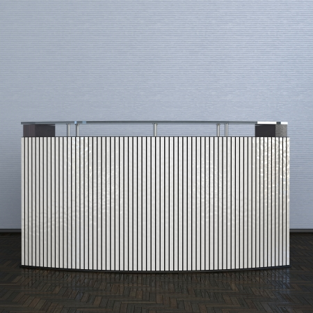 reception counter made of vertical panels in abstract interior photo