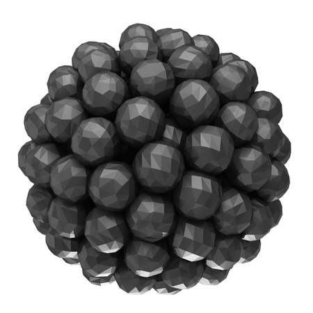 array of black faceted spheres on a white background photo