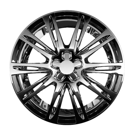 fine chrome car disc isolated on white Stockfoto