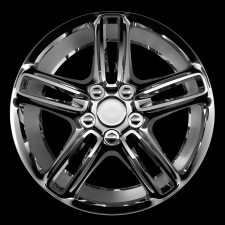 fine chrome car disc isolated on black photo