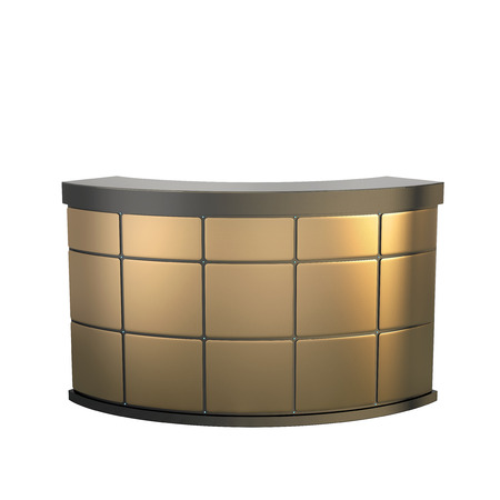 reception counter made of matted golden panels Stock Photo