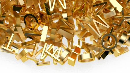 abstract background made of many golden letters Stock Photo