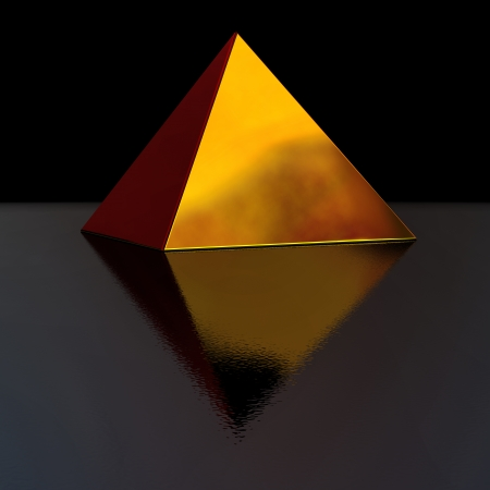 constancy: perfect golden pyramid with pretty reflection on black background