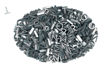 oval shape made of many metal letters photo