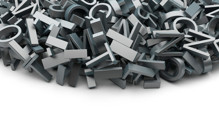 abstract background made of many metal letters photo