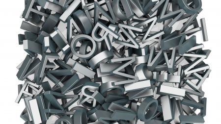 abstract typographic composition made of different letters photo