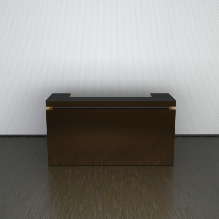 dependable: reception counter made of metal in abstract interior