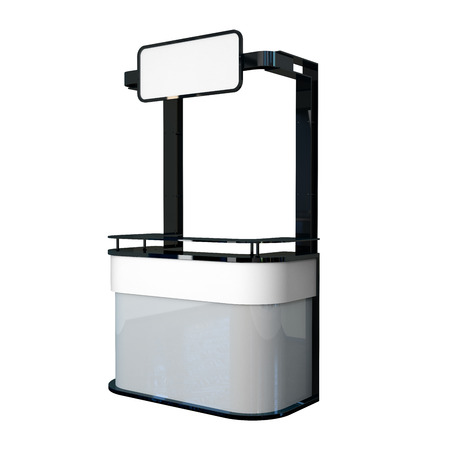 friso: contador de la promoci�n del dise�o moderno con el friso en blanco Foto de archivo