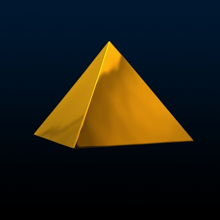 constancy: pretty yellow pyramid on dark background Stock Photo