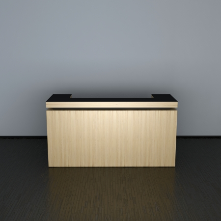 fine wood: reception counter made of fine wood in abstract interior
