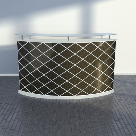reception counter design with carbon plates decoration photo