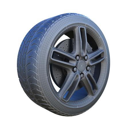 matted: digital generated car wheel with structural mesh