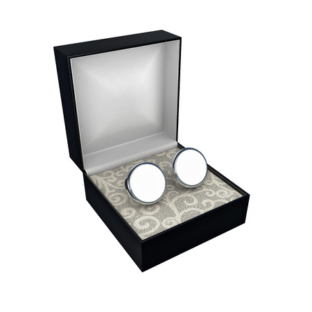 cuff links: open black box with pair of blank cufflinks