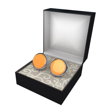 cufflinks: open black box with pair of blank cufflinks
