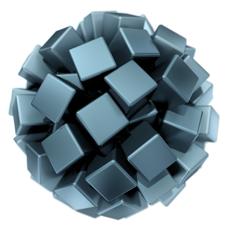 three-dimentional spherical shape made of many metal cubes Stock Photo - 22471496