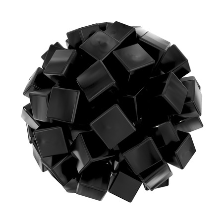 abstract sphere shape object made of many black cubes Stock Photo - 22471500