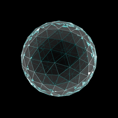 crystal sphere with colored faces isolated on black Stock Photo - 22471503