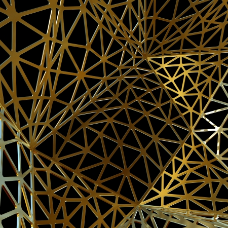 abstract golden construction isolated on black Stock Photo - 22471505