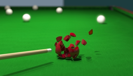 billiard ball smashing with a powerful strike from the cue photo