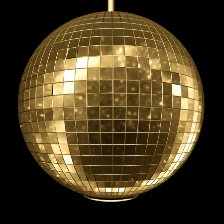 fiestas discoteca: bola de discoteca con la reflexi�n natural aislado en negro