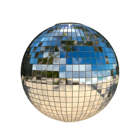 disco ball with natural reflection isolated on white Stock Photo - 22471587