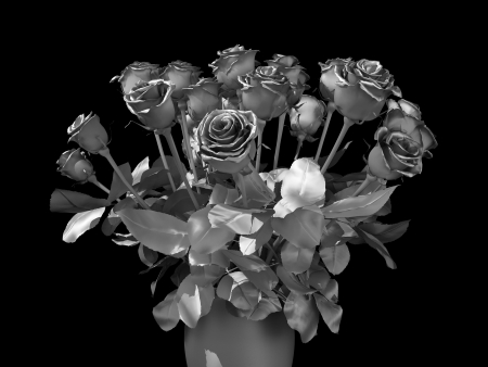 silver roses bouquet on a black background Stock Photo - 22471812