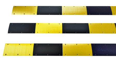 traditional road speed bump isolated on white Stock Photo - 22471814
