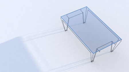 conceptual table with glass tabletop with shadow on white background Stock Photo - 22471824