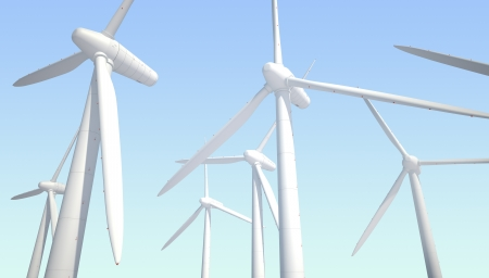 few wind power generators on blue background Stock Photo - 22471826