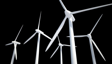 few wind power generator isolated on black Stock Photo - 22471827