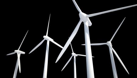 few wind power generator isolated on black Stock Photo - 22471827