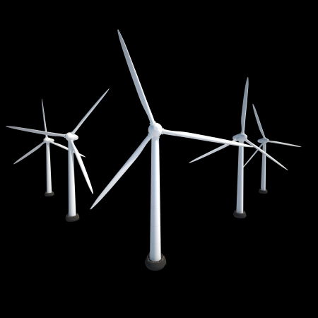 few wind power generator isolated on black Stock Photo - 22471828