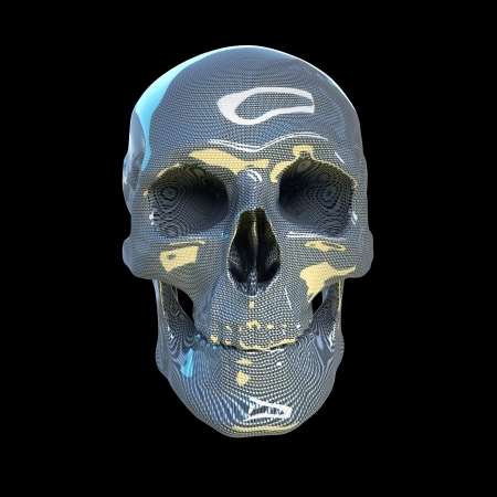 high resolution human scull made of glossy carbon Stock Photo