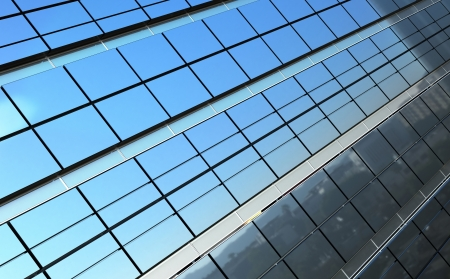 Modern business landscape reflected in building facade photo
