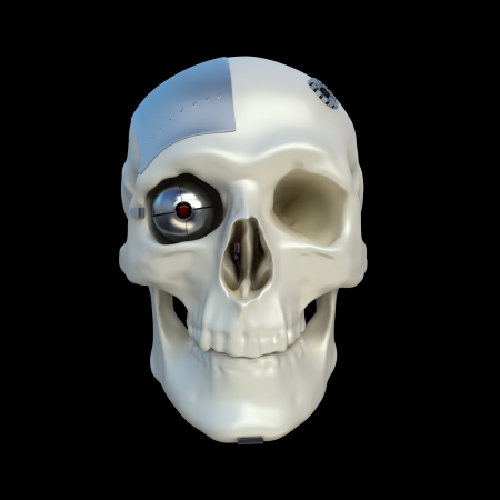 human skull with mechanical and electronical parts isolated on black photo