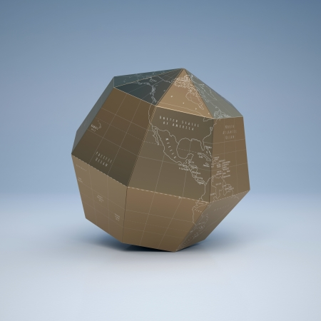 hexagonal shape Earth globe made of gold photo