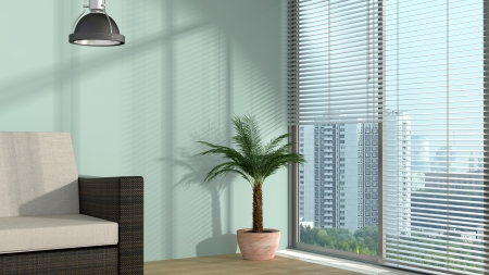 shade: modern interior with window and sunlight and cityscape behind
