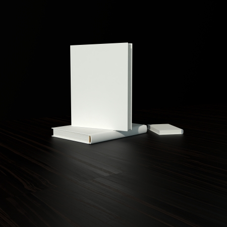 mag: white blank book in hard cover on black background