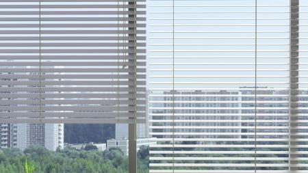 fine window with jalousie in an abstract modern interior Standard-Bild